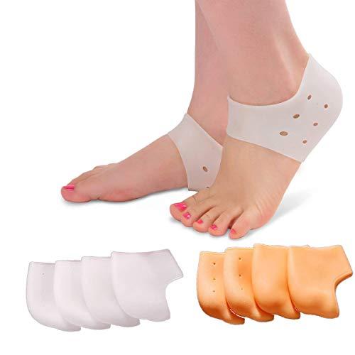 Tangger 4 Paar Ferse Tassen Ferse Socken,Silikon Fersenschoner für Ferse Schmerzen Fersenschutz Schuhe,Heilen Trockene Rissige Fersen,Achilles Tendinitis,für Herren und Damen