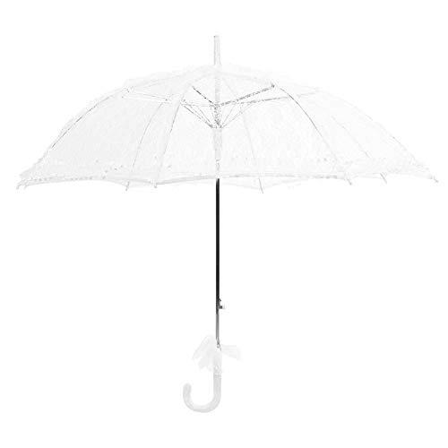 Zerodis Parasol Mariage -Ombrelle Mariage en Dentelle/de Mariee Blanc Parapluie Décoration de Mariage Dame Costume Accessoire Partie Dansante Photographie Prop Décoration