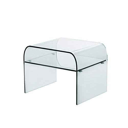 Arreditaly Tavolino Basso Salotto Soggiorno Sala da Pranzo Cubo Quadrato in Vetro Temperato Curvato con Ripiano Design Moderno Elegante Luxury Z-23, 50 x 40 x 50 Cm