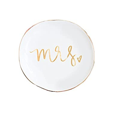 Mrs. Jewelry Dish, Gold Ring Dish, Trinket Tray, Gift for Bride, Wedding Ring Dish, Miss to Mrs, Wifey, Mrs Dish, Wedding, Wedding Gift, Desk Dish Hand Lettered by Sweet Water Decor 4x4