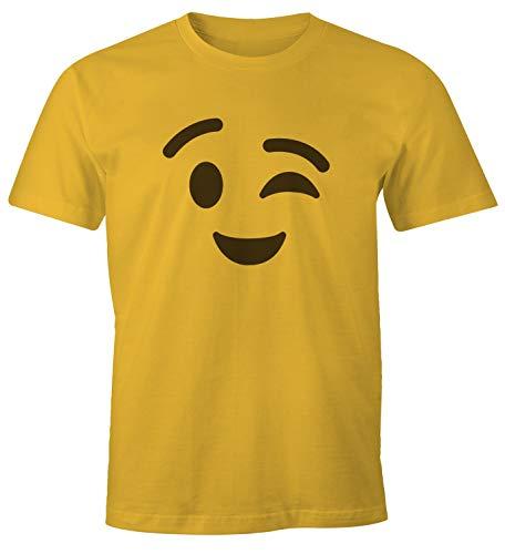 MoonWorks  Camiseta para hombre Emoji, disfraz de grupo, carnaval, despedida de soltero, JGA, divertida camiseta Emoji Zwinkern Amarillo XL