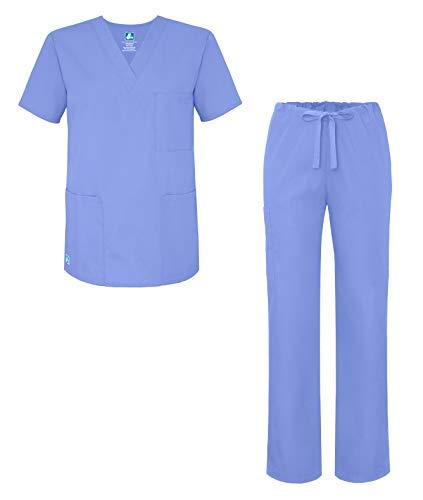 Adar Universal Unisex Scrub Set - Unisex V-Neck Scrub Top & Tapered Drawstring Scrub Pants - 907 - Ceil Blue - L