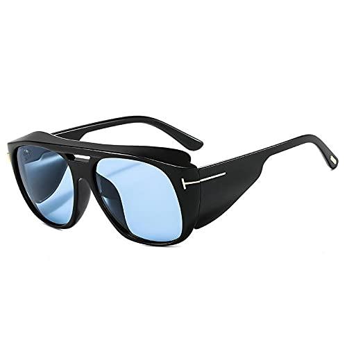 FENGHUAN Gafas de Sol cuadradas de Gran tamaño Retro para Mujer, Gafas degradiente Transparente Punk a la Moda paraMujer, Gafas de Sol paraHombre, Negro, Azul