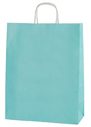 Thepaperbagstore 25 Bolsas De Papel De Colores, Reciclables Y Reutilizables, con Asas Retorcidas, Azúl Claro - Medianas 250x110x310mm
