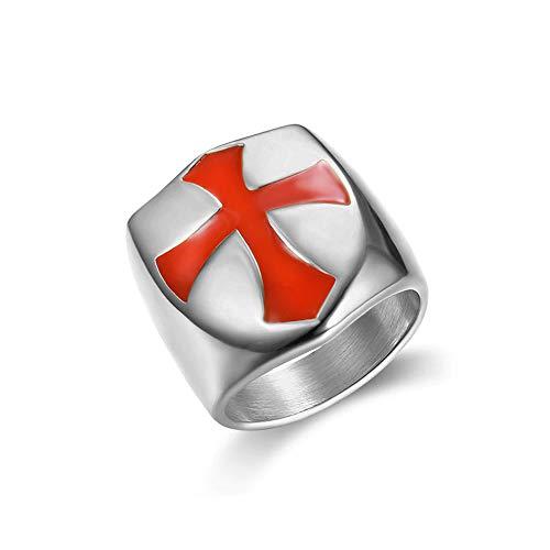 BlackAmazement 316L Edelstahl Ring Medieval Knight Ritter Templer Tempelritter Kreuzritter Kreuzfahrer Silber rot Herren Damen (Silber, 71 (22.6))