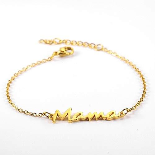 XKMY Pulsera para mujer de acero inoxidable con eslabones para mamá de oro, regalo para mamá (color metal: oro)
