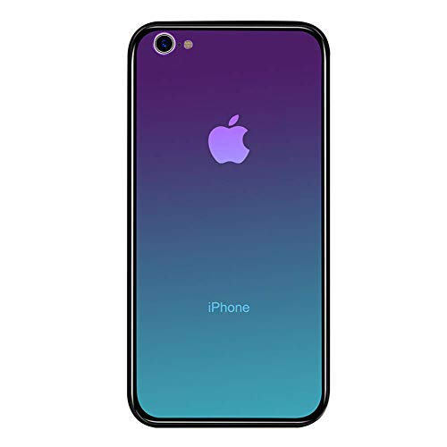 LAYJOY Funda para iPhone 6, Funda para iPhone 6s, Ligera Carcasa Silicona Suave Negro TPU Bumper y Transparente Vidrio de Imitación Anti-Arañazos Case Cover (Aurora) - 4.7 Pulgadas