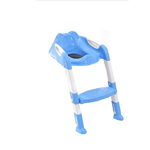 SUNSHINE HOME&3 Bébé Potty Formation Toilettes siège Pliable pédale réglable Enfants de Toilette Trainer avec Tabouret escabeau sécurité antidérapante et Solide 1-7 Ans Enfants (Rose et Bleu),Blue
