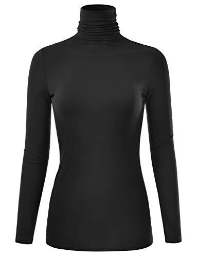 EIMIN Women's Long Sleeve Turtleneck Lightweight Pullover Slim Shirt Top Black S