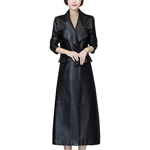 E-girl P8112 - Abrigo largo de piel sintética para mujer Color negro. 42