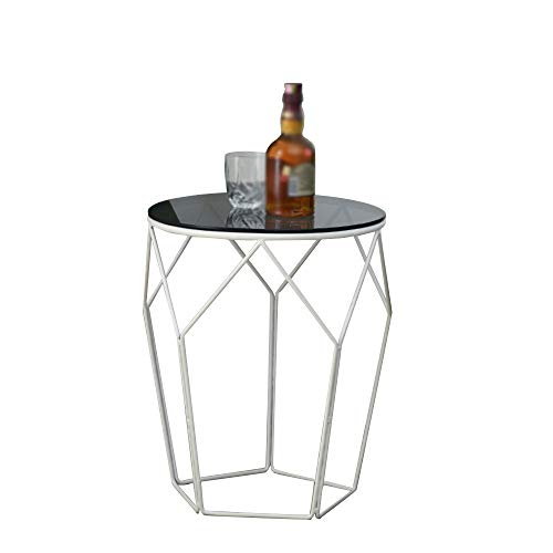 HAIZHEN Nordic Small Round Table Black Modern Glass and Metal Side End Table Stand Mesa de sofá de Hierro Forjado...