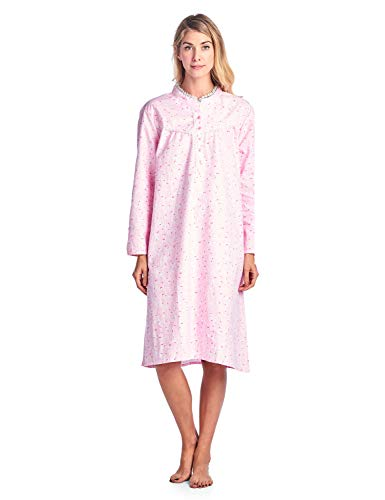 Casual Nights Women's Flannel Floral Long Sleeve Sleepwear Nightgown - Pink - Large