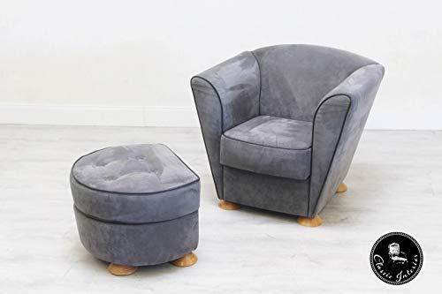 Classic Interior COR Designer Sessel Hocker Alcantara Garnitur Stuhl