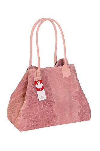 Damen Handtasche Lady Anne Rose Echtes Wildleder (Kroko-Prägung) Multifuktionstasche Henkeltasche Schultertasche Shoppertasche