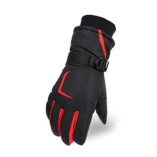 Chenguojian Unisex Winter Ski Gloves Waterproof Ski Thermal Gloves Snowboard Fleece Warm Snow Cold Weather Gloves Cycling Gloves (Color : Red)