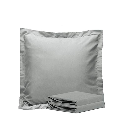 NTBAY 100% Brushed Microfiber European Square Throw Pillow Cushion Cover Set of 2, Soft and Cozy, Wrinkle, Fade, Stain Resistant (26x 26 inches, Smoky Grey)