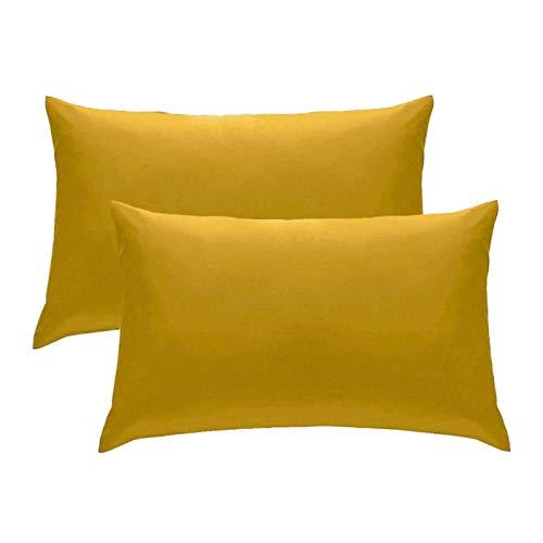 DNAEGH 50x70cm 2 Piezas Funda de Almohada cojín de Color sólido, Suministros para sillas para el hogar.Mostaza
