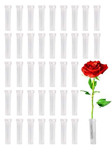 Hyamass 40pcs Clear Plastic Flower Water Tubes Floral Tubes for Flower Arrangements