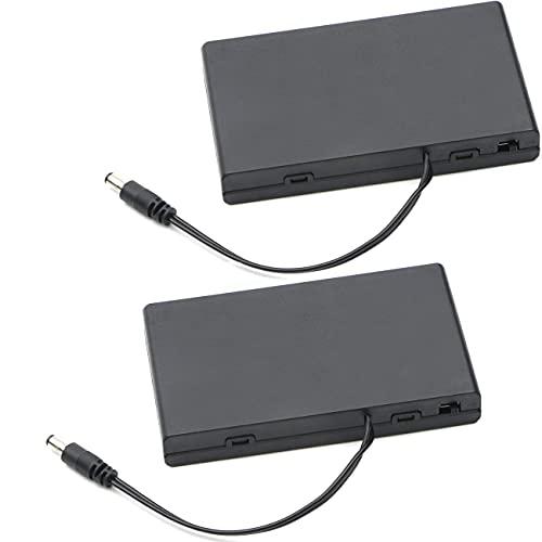Greluma 2 Piezas 12V 8xAA Soporte de Batería Caja de Almacenamiento de Batería de Plástico con Tapa de Caja Interruptor de Encendido/Apagado con Enchufe de DC de 5,5 mm x 2,1 mm