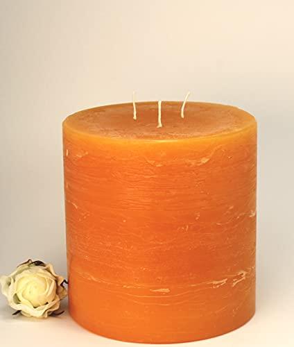 Kerzen Junglas 3 Docht Rustic-Kerze mit Struktur, Farbe: Mandarin-Orange - Höhe: 12 x 12 cm Ø. Eine schöne Rustik-Kerze für Ihr Zuhause. 3 Wick Pillar Candles. (4002)