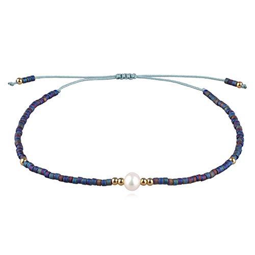 KELITCH Neu Miyuki Wulstig Armbänder Boho Strang Armbänder Armreifen Frau Mischen Perle Armbänder Zum Sommer - Dunkel Blau