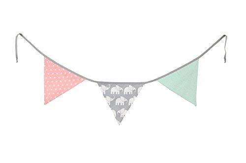 Guirnalda de banderines de ULLENBOOM ® con elefantes menta rosa (guirnalda de tela: 1,25 m; 3 banderines; decoración para la habitación de los niños; fiestas de bienvenida para bebés)