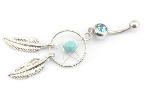 Baqi 14G 7/16 Inch Crystal Gem Dream Catcher Belly Navel Barbell Bar Ring Body Jewelry Piercing Blue