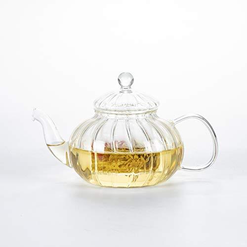 DecentGadget®, Teiera in vetro borosilicato ad alta resistenza al calore Teiera a forma di zucca da 600 ml.