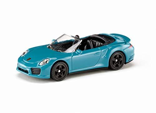 siku 1523, Porsche 911 Turbo S Cabrio, Metall/Kunststoff, Blau, Spielzeugauto für Kinder
