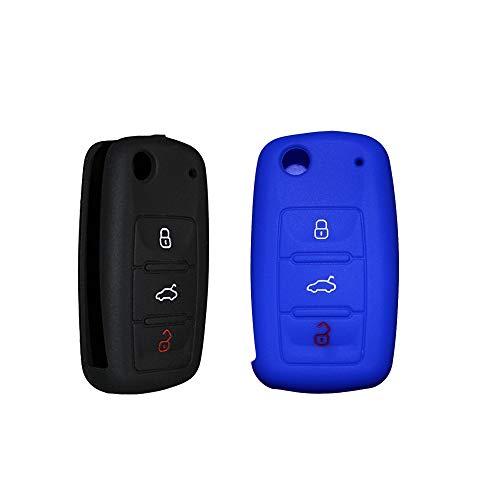 Tuqiang Coque clé de voiture pour VW Golf Passat Jetta Polo Tiguan Flip pliable en silicone 3 boutons Lot de 2 (Noir, Bleu)