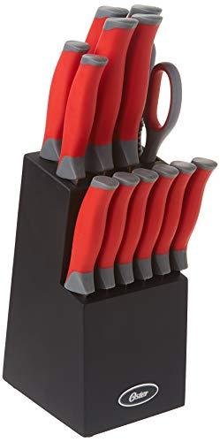 Oster Lindbergh 14 Piece Stainless Steel Cutlery Black Block Set, Red Handles