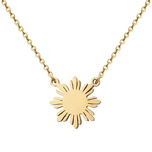 Philippine Sun Necklace Filipino Pride Jewelry Pinoy Pride Charm (Gold)