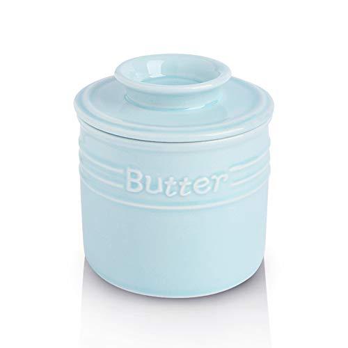 KOOV Porcelain Butter Crock French Butter Dish Ceramic Butter Keeper for Counter Big Capacity Elegant Blue Collection Sky