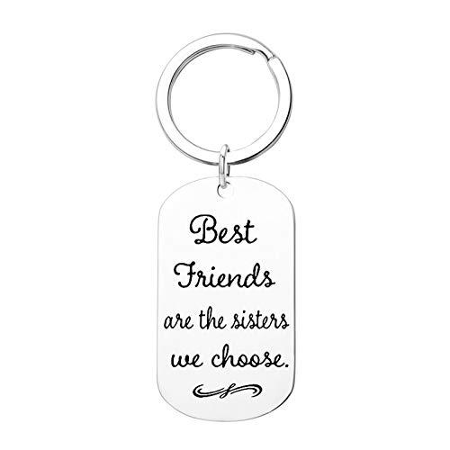 AYDOME Schlüsselanhänger Edelstahl Gravur Hundemarke Best Friends Are The Sister we Choose Schlüsselanhänger Männer Auto