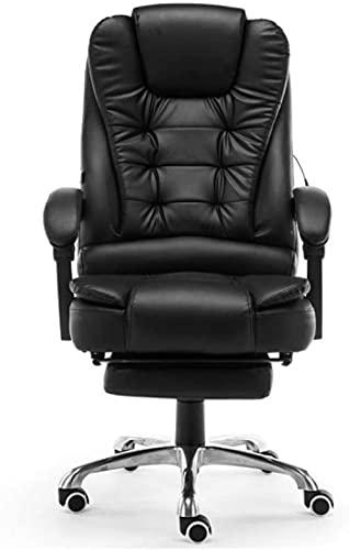 LHMYHJR Gaming STÜHMEN KAUFEN ERGONOMISCHER Game-Stuhl Bürostuhl Schreibtisch Imitation Lederstuhl liefern elektrische Massage-Funktionsstuhl-Schwarz