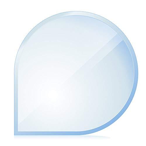 bijon® Funkenschutz-Platte mit Facettenschliff | Glasplatte Kaminofen | Kaminschutz mit ESG Sicherheitsglas | Kamin Glasplatte | Tropfenbogen 110 x 110 cm | 8mm