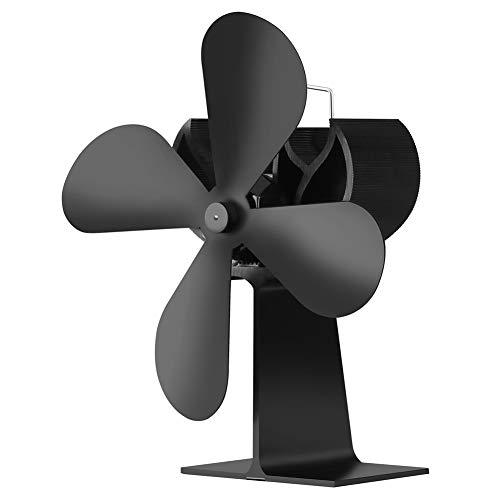 Luoshan XL BLFS-001 Ventilador de Estufa de Chimenea Ultra silenciosa de Aluminio con 4 Cuchillas y Potencia silenciosa (Negro) (Color : Black)
