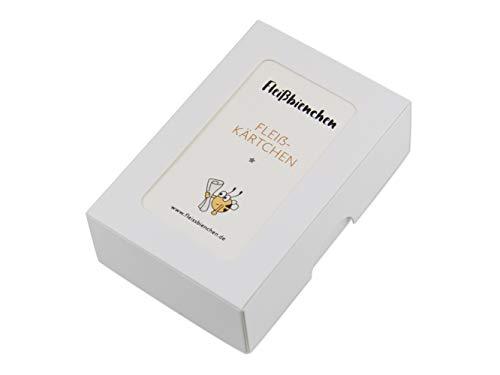 75x Fleißkärtchen »Bunte Box« • Fünf Motive • Visitenkartenformat, Creme • Für Erwachsene, Kinder, Schüler • Belohnungskärtchen, Lobkärtchen, Motivationskärtchen