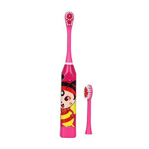 Kinder Elektrische Zahnbürste, Cartoon Muster, Doppelseitige Zahnbürste, Elektrische Zahnbürste oder Ersatzbürstenkopf, Schallaufhellung Zahnbürste Rot