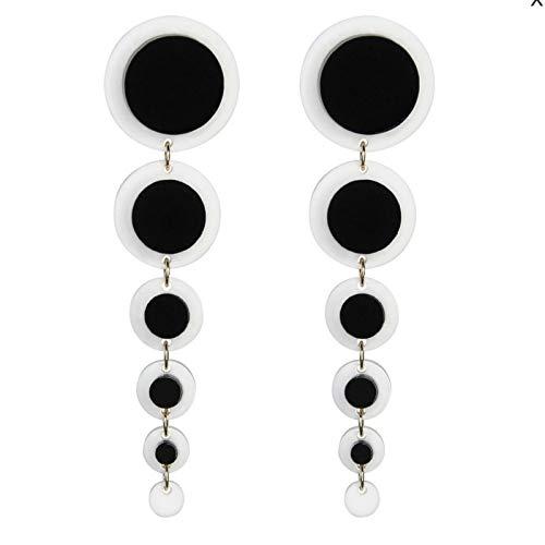 LIUL Pendientes Colgantes de acrílico de círculos Blancos Negros de Borla Larga Simple de Moda Pendientes Colgantes geométricos