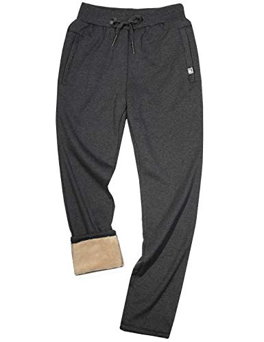 Yeokou Mens Winter Warm Sherpa Lined Active Thermal Jogger Fleece Sweatpants Pant (Large, Style12Grey-Straight Leg)