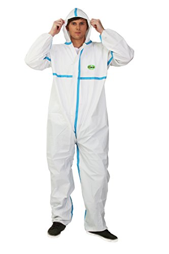 Raygard 30223 Disposable Chemical Protective Coverall Microporous Suit Taped Sealed Seams with Hood, Elastic Wrist, Ankles and Waist,Front Zipper Closure for Spray Paint Workwear(X-Large, White)