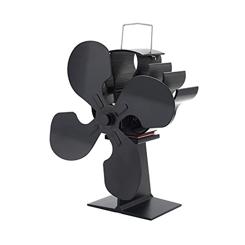 XIANGE100-SHOP Ventiladores para chimeneas Chimenea Negro 4 Cuchas Estufas eléctricas de Calor Tronco de Fans de Madera Quemador de leña Casera Tranquila Fan Chimenea