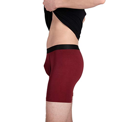KAYAPO Men's Micromodal Breathable Ultrasoft Lightweight Comfortable Underwear, Boxer Brief, Burgundy, Pack of 3, X-Large