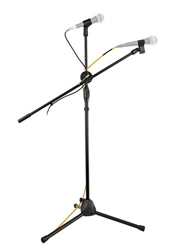 Rockville GIGSTAND Dual Microphone Stand with (2) Mic Clips and Detachable Boom