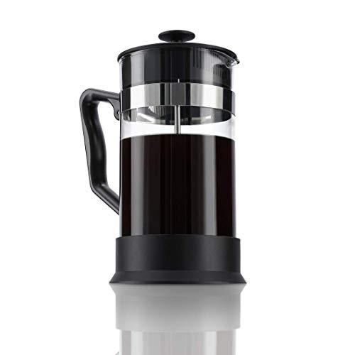 Xavax Kaffeebereiter aus Glas (French Press für 1 Liter / 1000ml, Cafetiere mit Edelstahl Filter für Kaffee oder Tee, spülmaschinenfester Teebereiter) schwarz