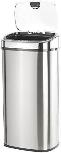 infactory Mülleimer: Abfalleimer mit Hand-Bewegungssensor & Aluminium-Korpus, 68 Liter (Mülltonne)