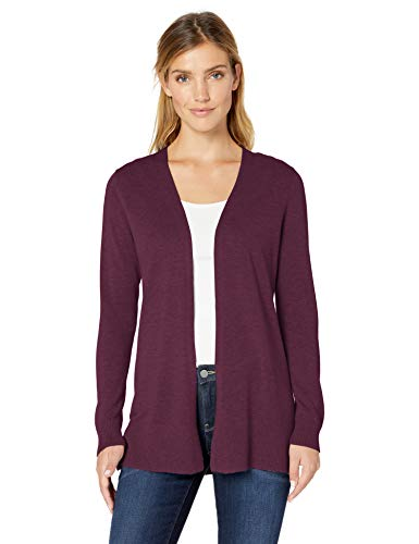 Amazon Essentials Women's Lightweight Open-Front Cardigan Sweater, Burgundy, Medium