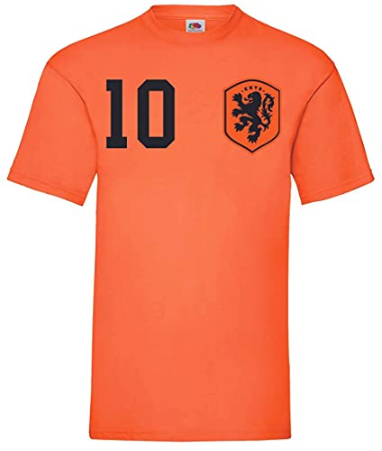 Youth Designz Herren T-Shirt Trikot Niederlande Holland mit Wunschname + Nummer - Orange M
