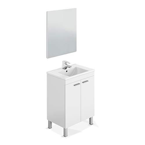 ARKITMOBEL Mueble de Baño con 2 Puertas y Espejo, Modulo Baño, Modelo LC1, Acabado en Blanco Brillo, Medidas: 60 cm (Ancho) x 80 cm (Alto) x 45 cm (Fondo)